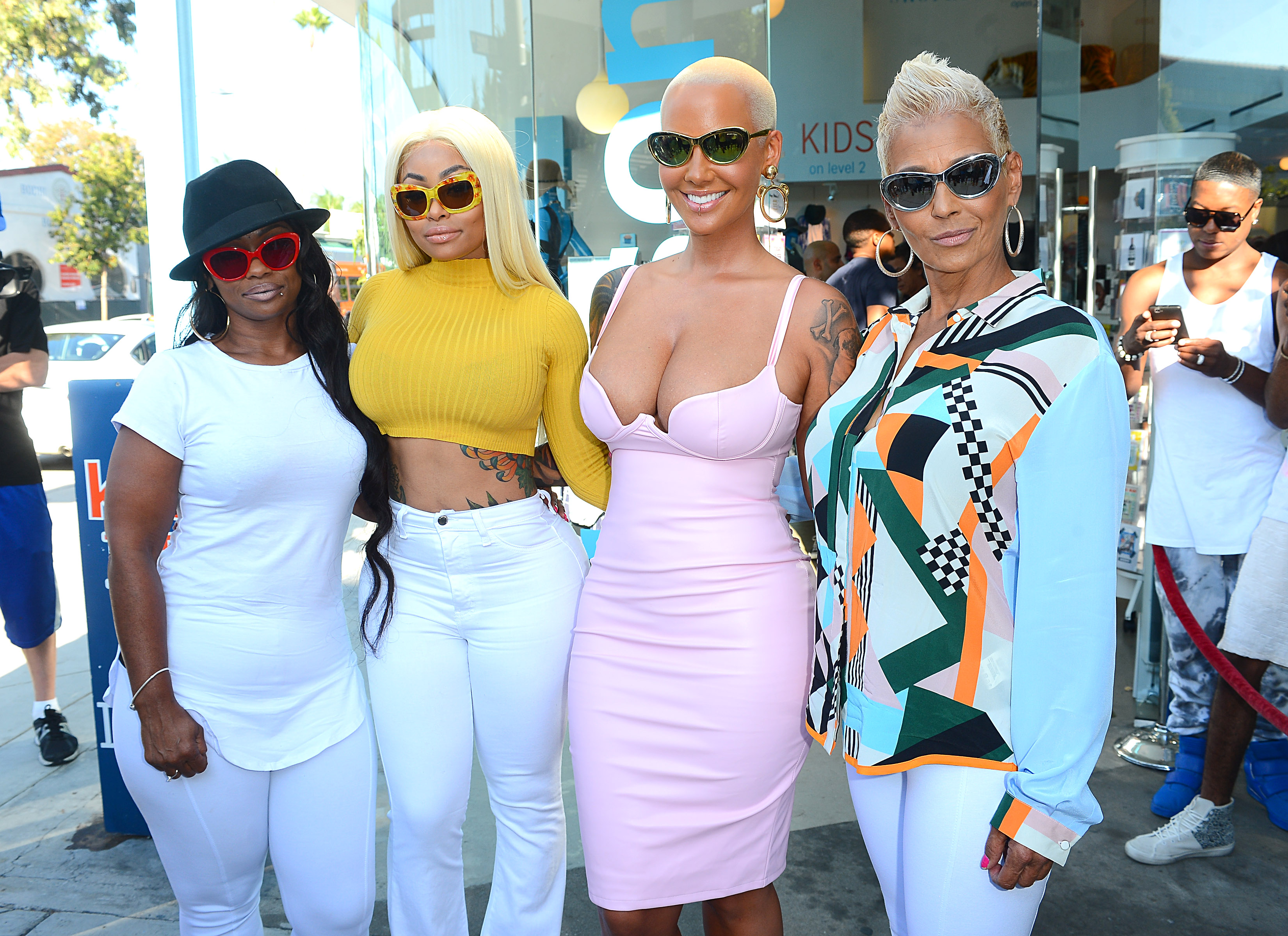 blac chyna and Amber Rose with their moms Launches Her Eye Glass Collection The Bash at Kitson