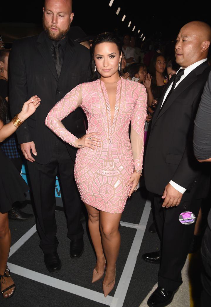 Demi Lovato was pretty in pink.