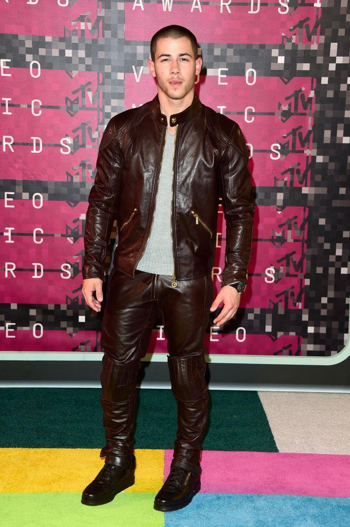 Nick Jonas rocked head-to-toe leather.