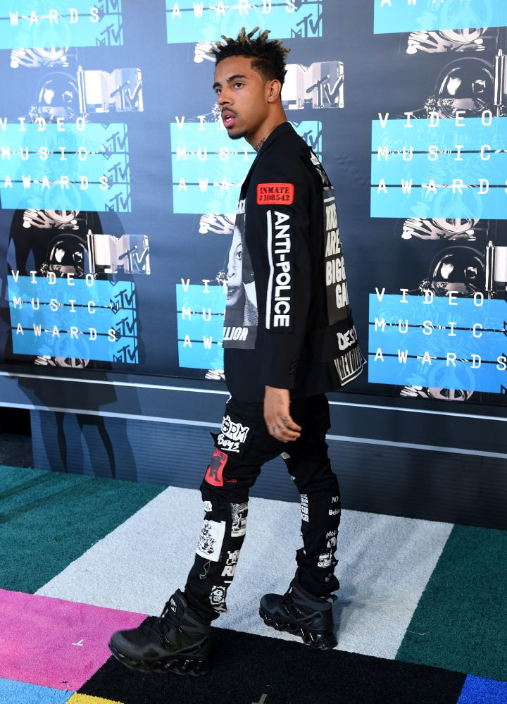 """Rocking a jacket that reads, """"KKKops are the biggest gang,"""" clearly Vic Mensa chose to make a statement."""