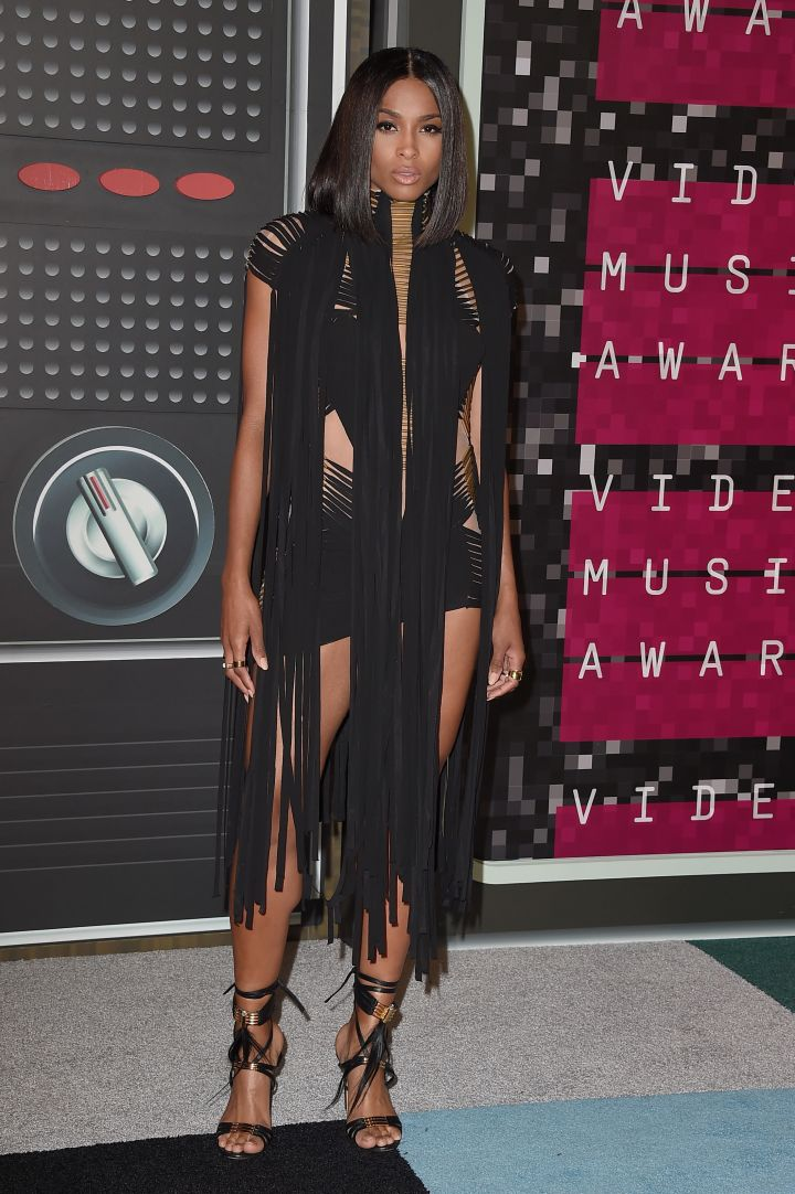 Ciara rocked noticeably shorter hair as she arrived in a daring dress.
