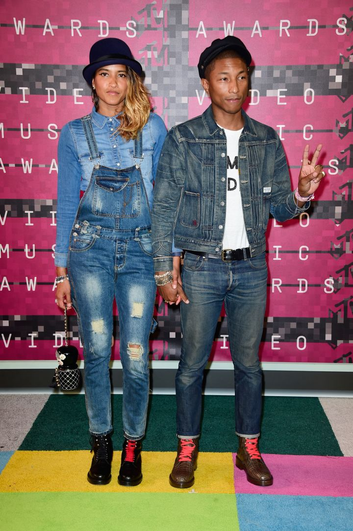 Pharrell and his wife were the red carpet's denim duo.