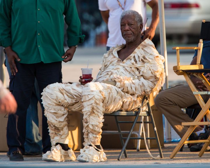 "This is Morgan Freeman dressed up like a mummy on set of ""Going In Style"" in New York City."
