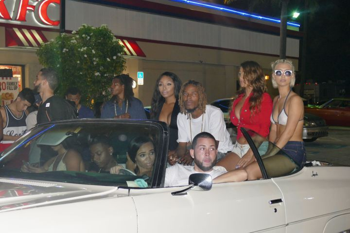 Fetty Wap posted up with some fine ladies on the set of a new video with Chris Brown and DJ Khaled.