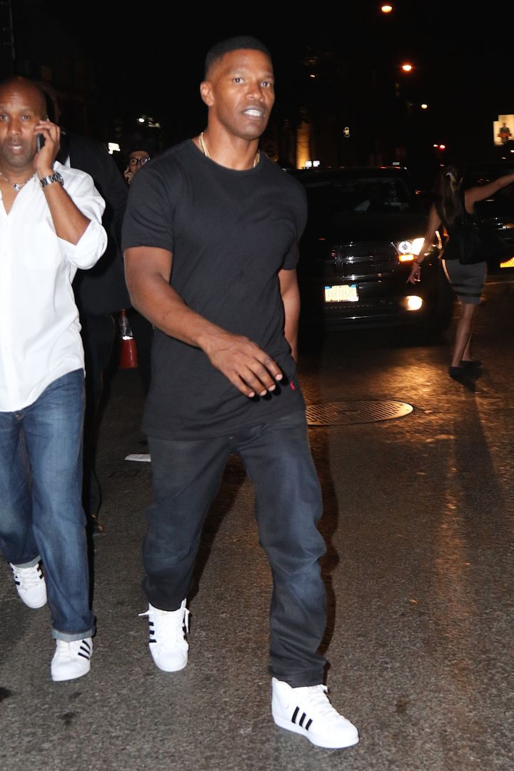 Jamie Foxx headed to Up & Down in NYC to support Travi$ Scott's album release party.
