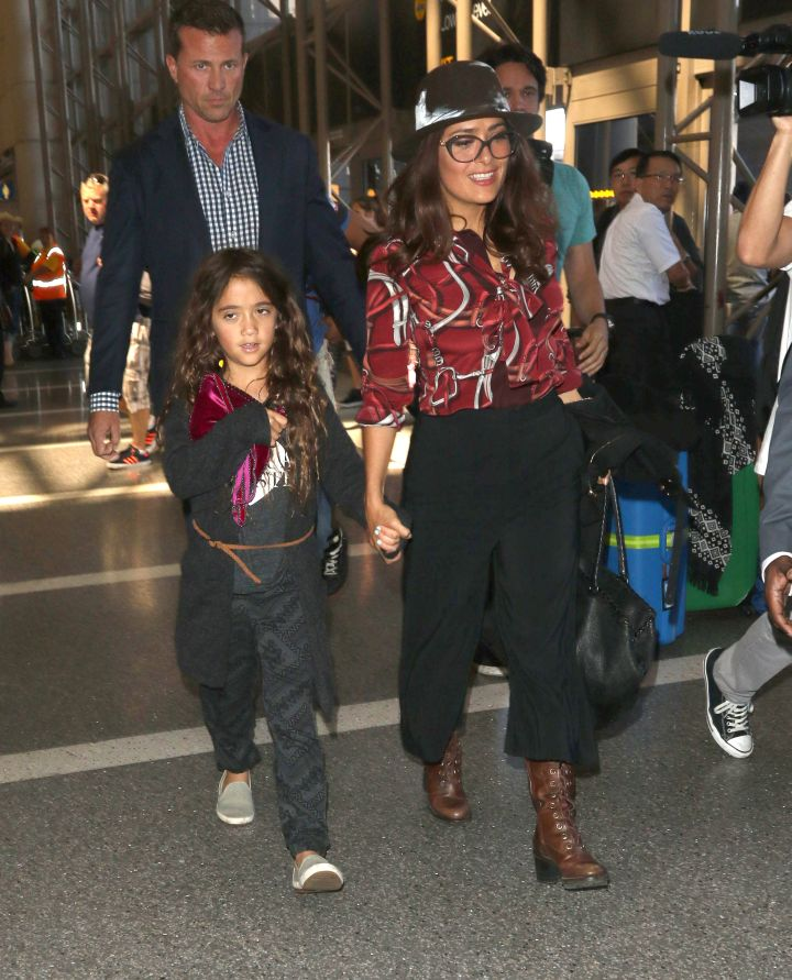 Salma Hayek and her adorable daughter were spotted leaving LAX.