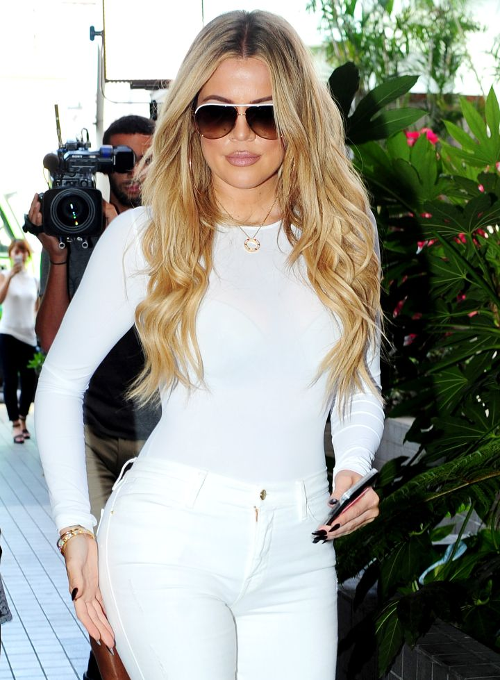 Khloe Kardashian rocked all white while filming KUWTK in Hollywood.