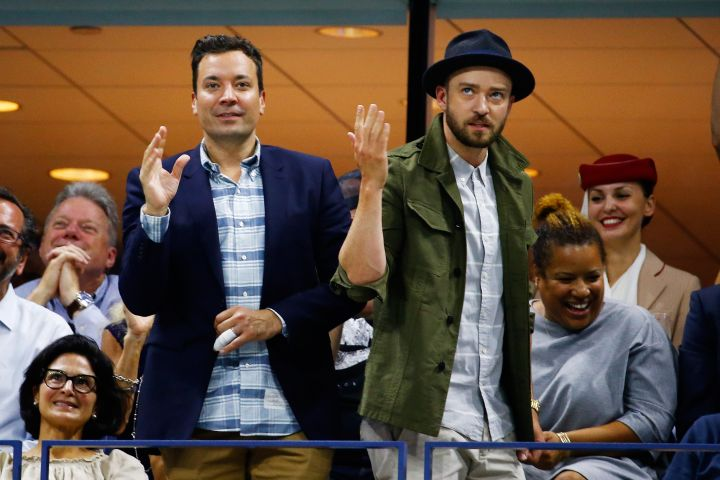 "Justin Timberlake & Jimmy Fallon show Beyonce up with their own rendition of her ""Single Ladies"" dance at the US Open."