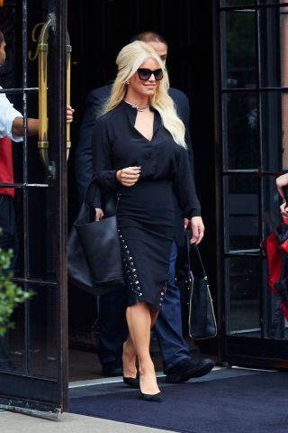 Jessica Simpson at hotel in East Village, NYC