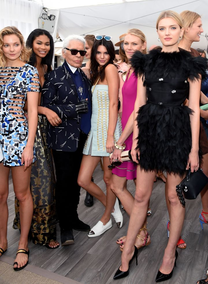 Chanel Iman, Kendall Jenner, and other models posed with the King of the Catwalk.