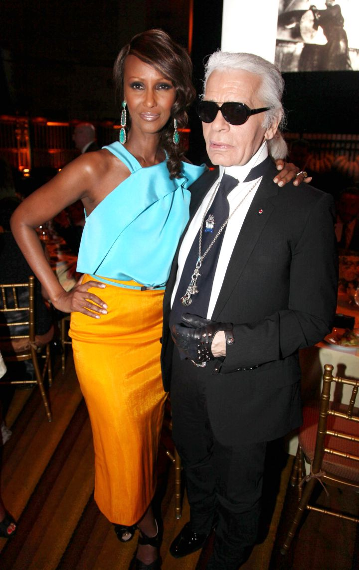 Iman and Karl giving glam, glam, glam.
