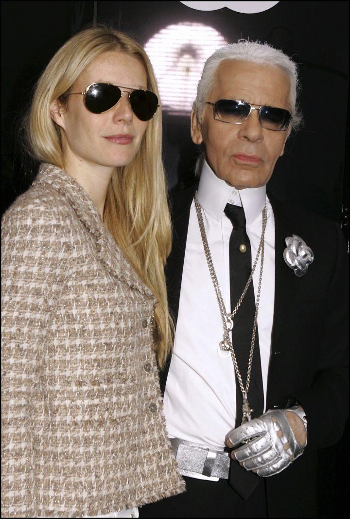 Gwyneth Paltrow rocked dark shades with Karl.
