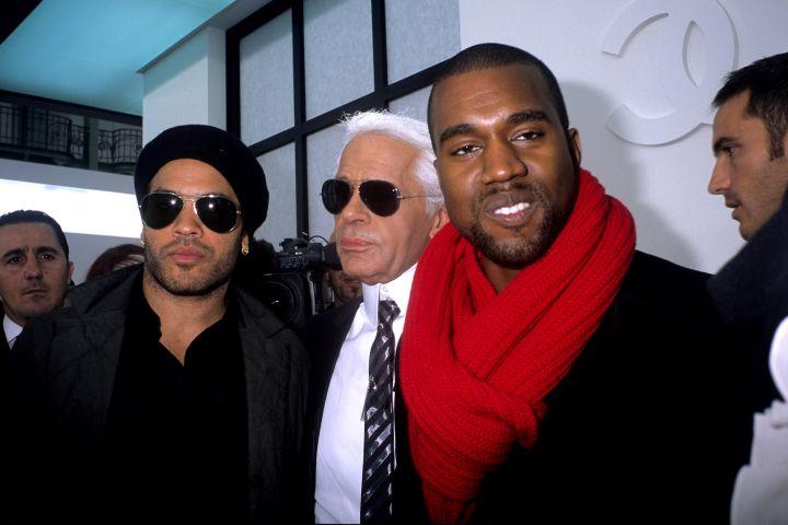 Hello, fellas: Karl, Kanye, and Lenny Kravitz.