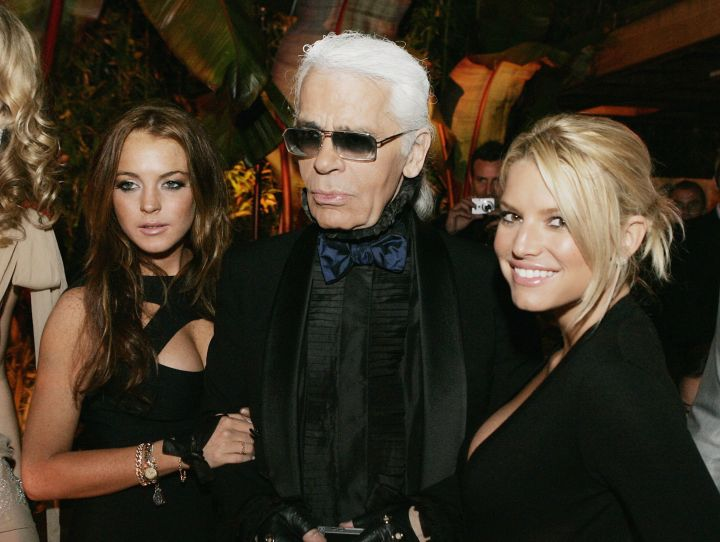 Karl hanging out with Lindsay Lohan and Jessica Simpson.