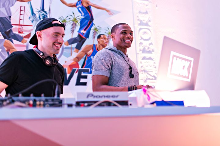 Russell Westbrook at EA Sports' NBA Live 16 Preview in New York City.