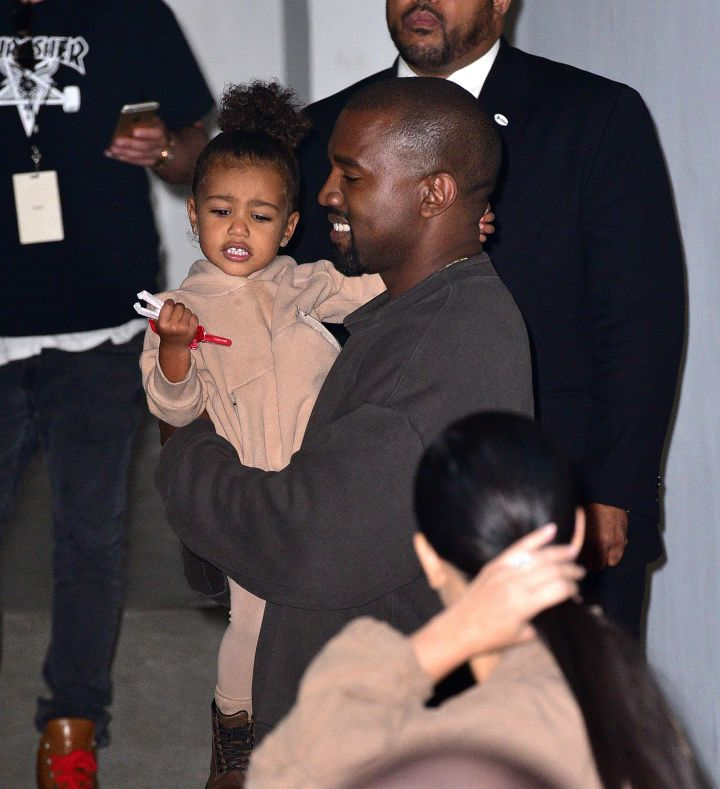 North West loves to make her daddy smile, even when he's in work mode.