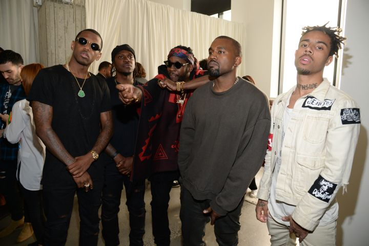 Fabolous, Pusha T, 2 Chainz, `Ye, and Vic Mensa chill backstage.