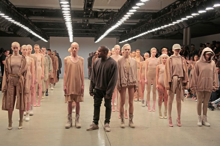 Kanye West comes out for the grand finale of the Yeezy Season 2 show.