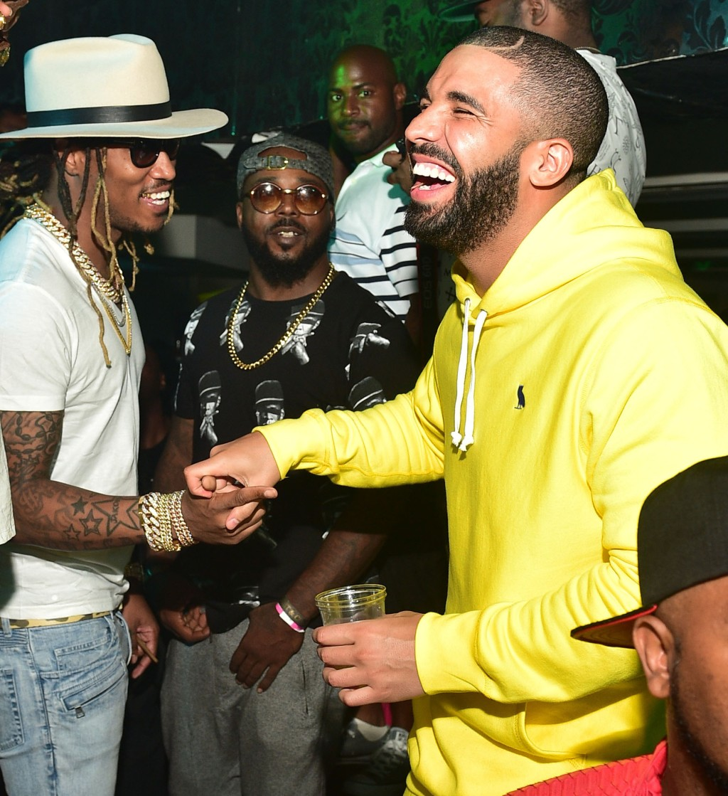 Kanye West parties in Atlanta with rappers Drake, 2 Chainz and Future.