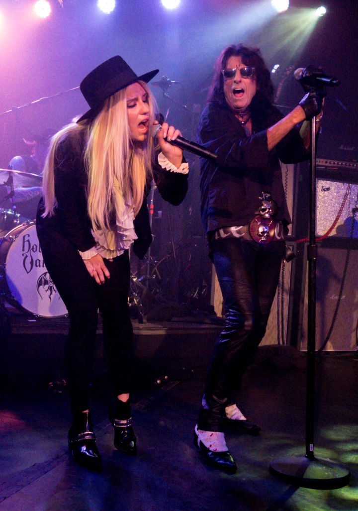 Remember Kesha? Here she is rocking out with Alice Cooper for The Hollywood Vampires show at the Roxy in Hollywood, CA.