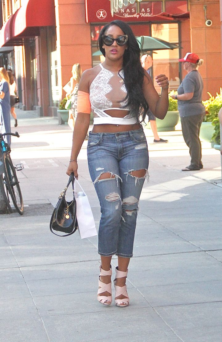 Once a Bad Girl, always a Bad Girl. Natalie Nunn shows off her bandage after surgery in Beverly Hills, CA.