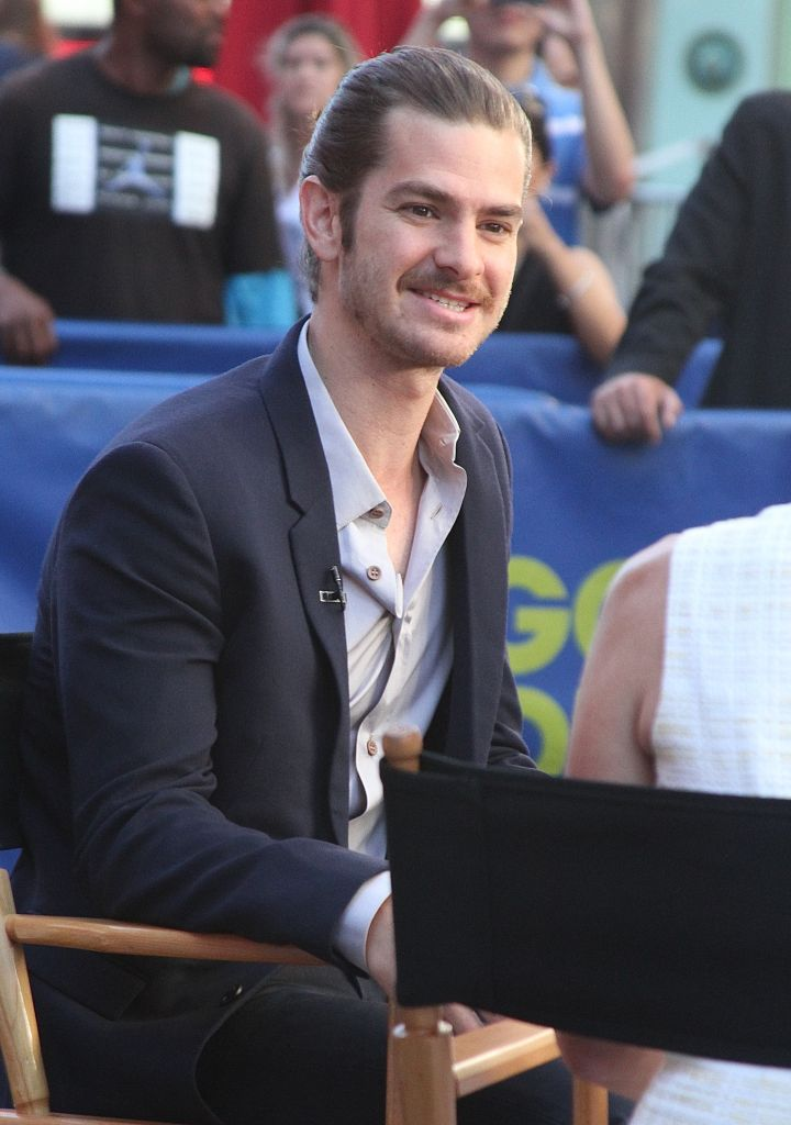 """Andrew Garfield visits """"Good Morning America"""" in NYC's Times Square and talked about his new movie """"99 Homes."""""""