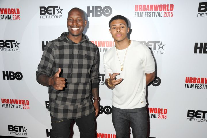 """Tyrese and Diggy posed at the 2015 UrbanWorld Film Festival's Opening Night Spotlight presentation of """"Muhammad Ali: The People's Champ,"""" held at AMC Empire 25 near Times Square in NYC."""