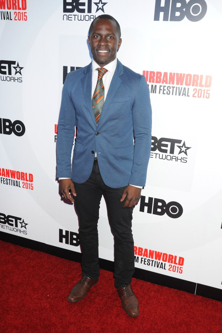 """Gbenga Akinnagbe at the 2015 UrbanWorld Film Festival's Opening Night Spotlight presentation of """"Muhammad Ali: The People's Champ,"""" held at AMC Empire 25 near Times Square in NYC."""