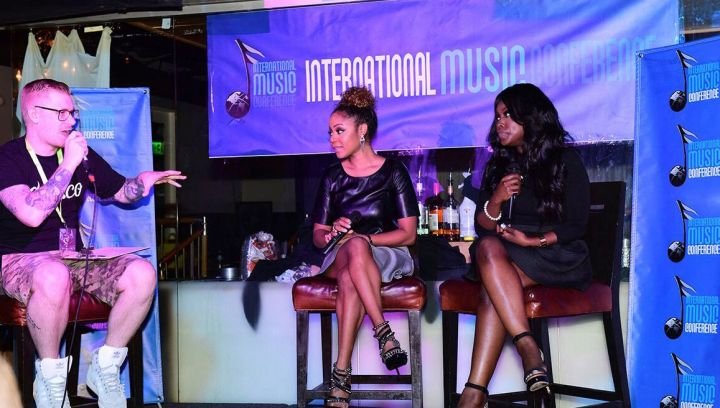 LaTavia Roberson and Meelah of 702 chat with Ill Will during the International Music Conference.