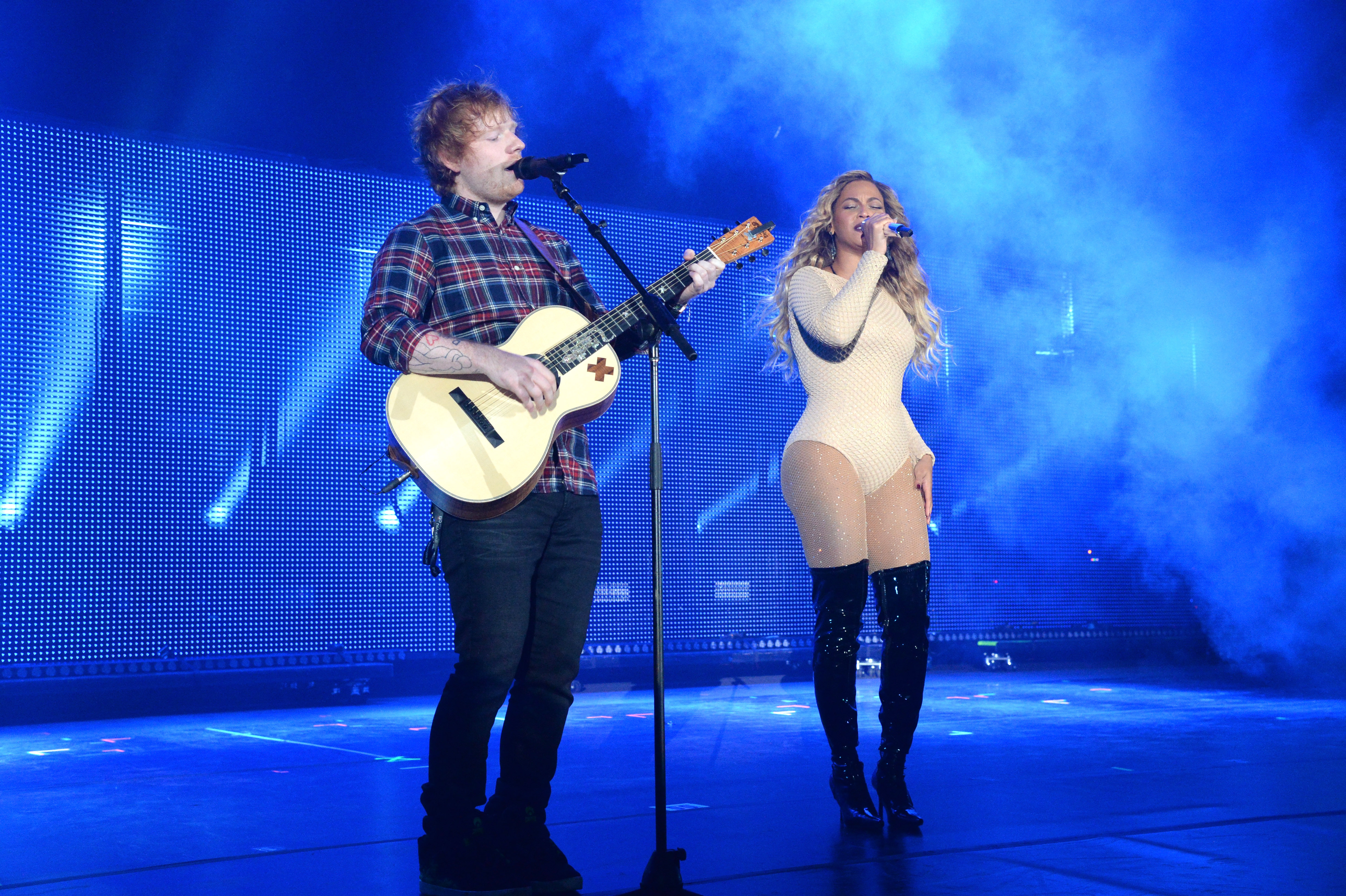 Ed Sheeran and Beyonce perform onstage during 2015 Global Citizen Festival to end extreme poverty by 2030 in Central Park on September 26, 2015 in New York City.