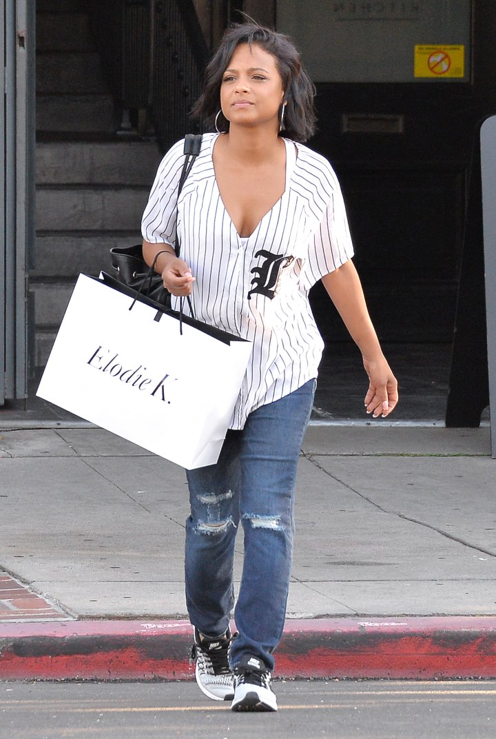 Christina Milian got a cupcake from a photographer for her birthday after going shopping in West Hollywood.