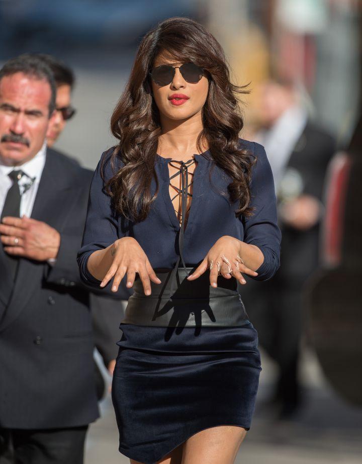 """Quantico"" star Priyanka Chopra made sure everything was on fleek before heading into 'Jimmy Kimmel Live' in Los Angeles, California."