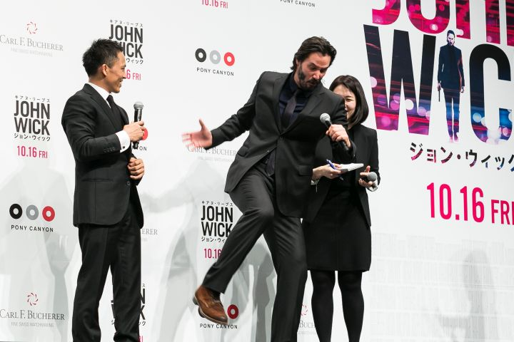 "Keanu Reeves is really excited to promote his new movie ""John Wick"" in Japan. He's probably acting out killing about a million people in the first 5 minutes of the film."