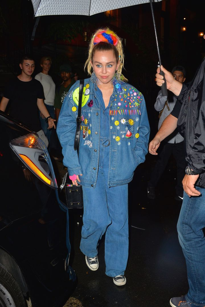 From weed to mushrooms, Miley Cyrus wore an interesting outfit while leaving a restaurant in NYC.