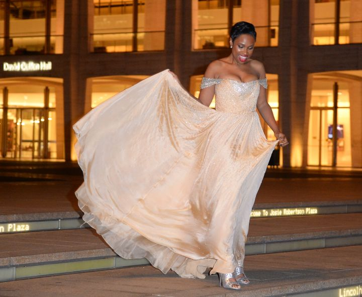 Jennifer Hudson wants to be Cinderella so bad. Here she is coming out of Lincoln Center in New York.