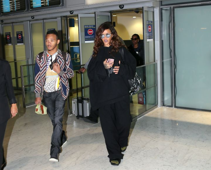 Rihanna and her little brother arrived in Paris at Charles de Gaulle airport just in time to attend Paris Fashion Week.