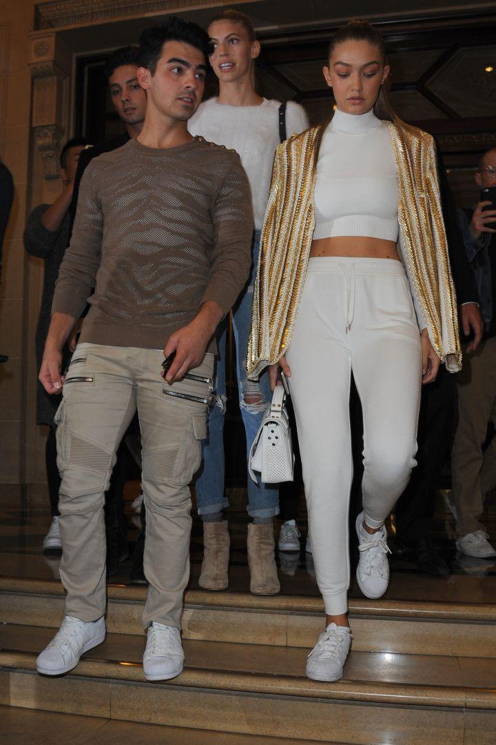 Gigi Hadid and boyfriend Joe Jonas got into the Balmain show, no problem.