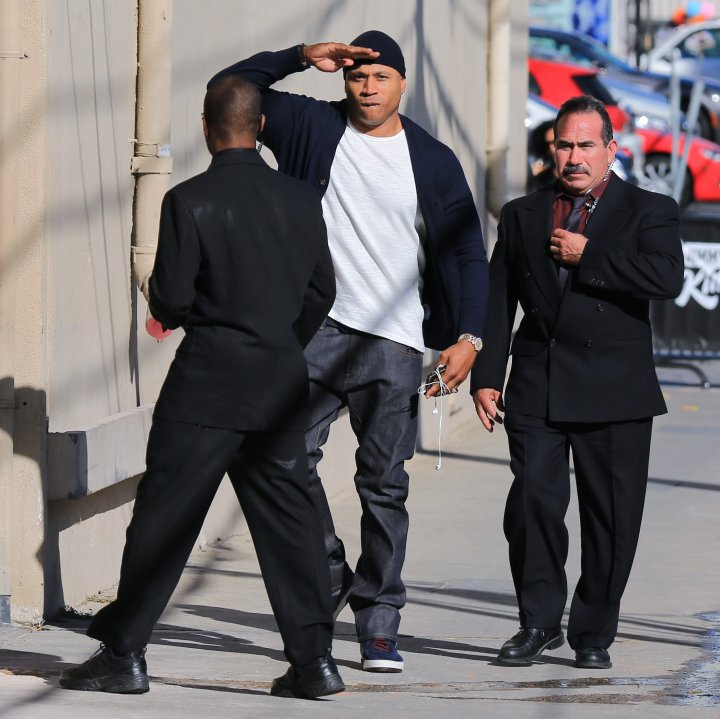 """Yes, Ladies Love Cool James, we see you heading into the """"Jimmy Kimmel Live!"""" studios. Salute to you too."""