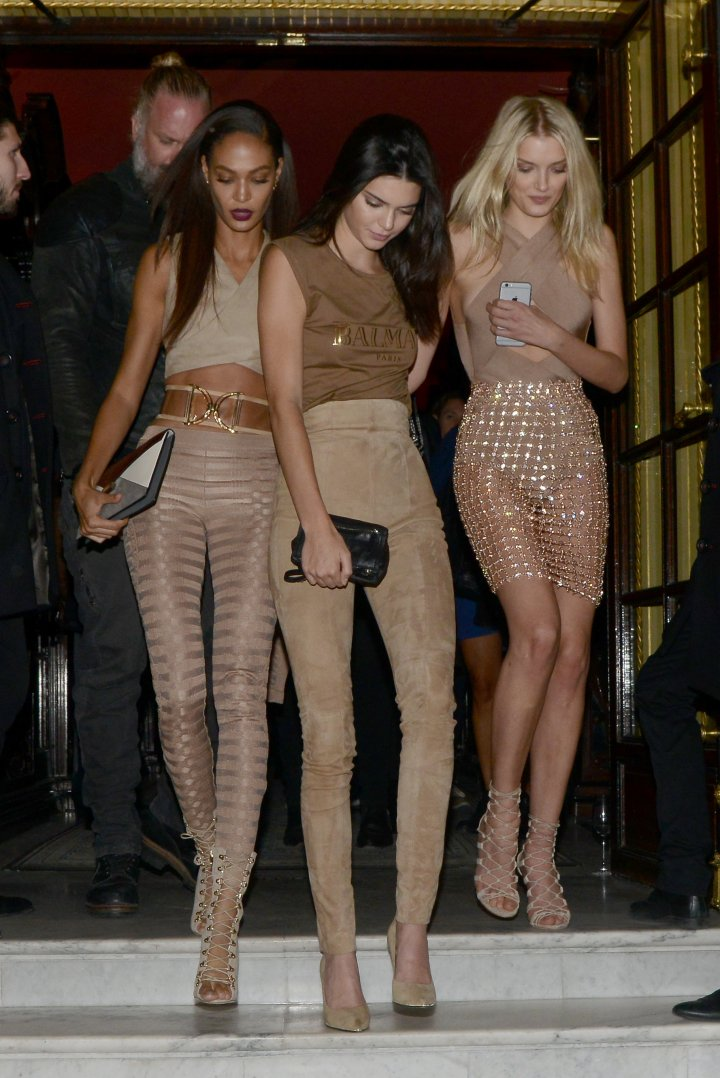 Joan Smalls, Kendall Jenner, and Lily Donaldson were seen going from party to party in Paris last night during Fashion Week.