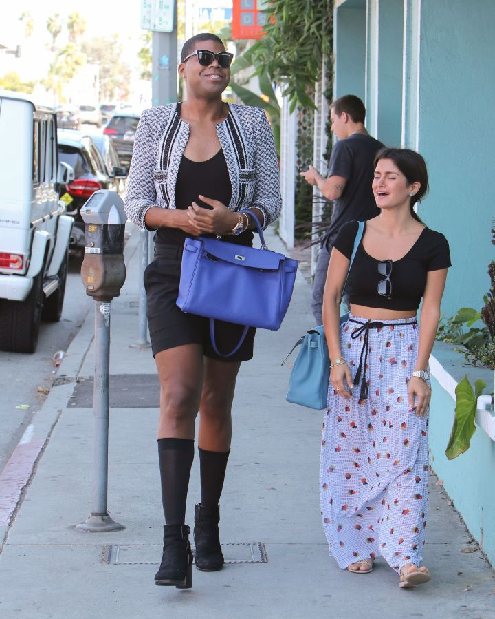 EJ Johnson was very happy while walking out with a friend in Los Angeles, California.
