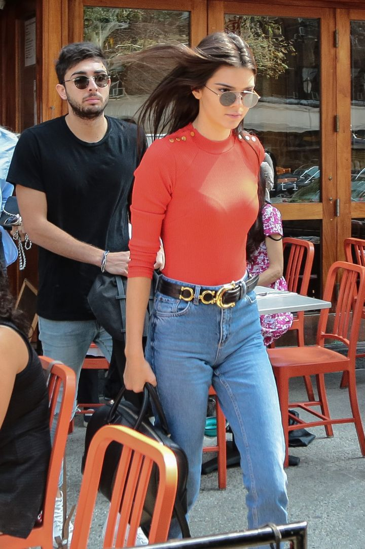 Kendall Jenner went for the tight, fitted sweater look