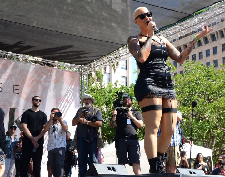 Amber Rose on stage at the 2015 SlutWalk in Los Angeles.
