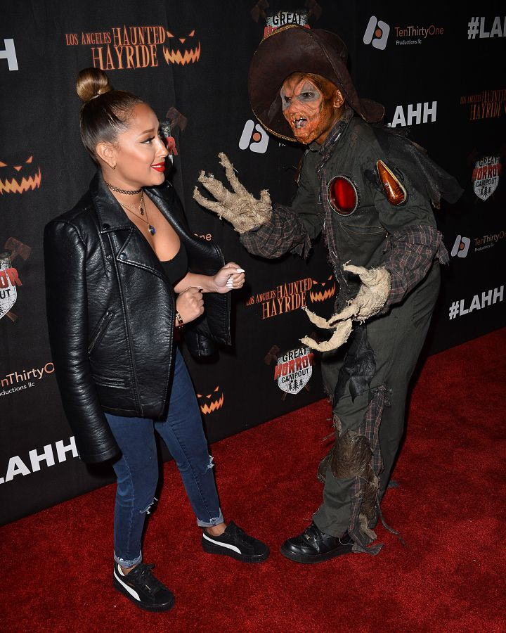 Adrienne Bailon wasn't about that horror life at the grand opening of the Haunted Hay Ride.