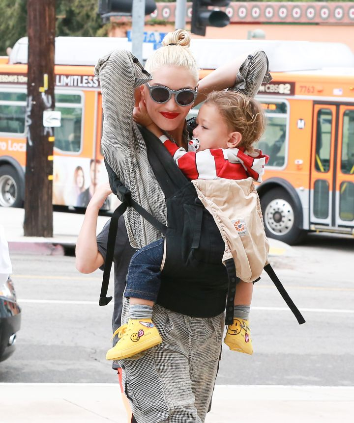 Look Ma, No Hands! Gwen Stefani and her son Apollo headed to church in Los Angeles on the Lord's day.