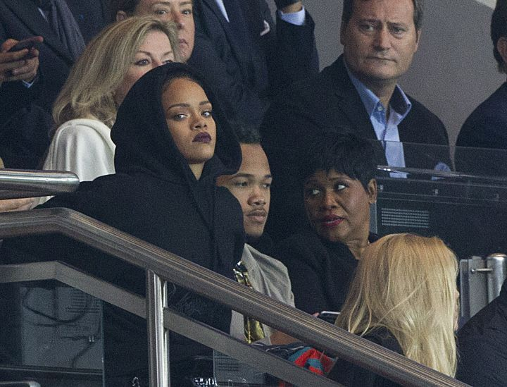 Rihanna was trying to keep it low key as she watched a soccer match with her family in Paris.
