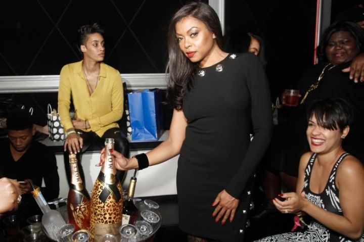 """Taraji P. Henson was given a surprise welcome by fellow """"Empire"""" cast members and friends at Studio Paris in Chicago, as they all sipped from 3L Moët Nectar Impérial Rosé Leopard Print Limited Edition and 2 Moët Nectar Impérial Rosé x Marcelo Burlon Limited Edition Bottles. Can you name all the cast members you see in this pic?"""