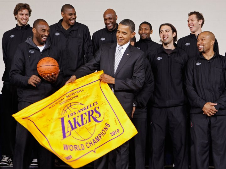Oh, Just a few lakers with the POTUS