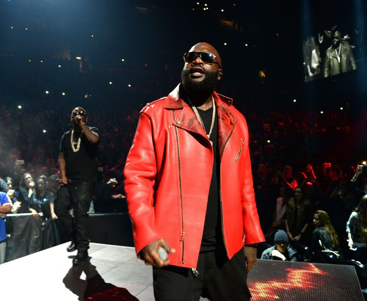A svelte Rick Ross takes in the crowd noise as he joins Meek on stage.