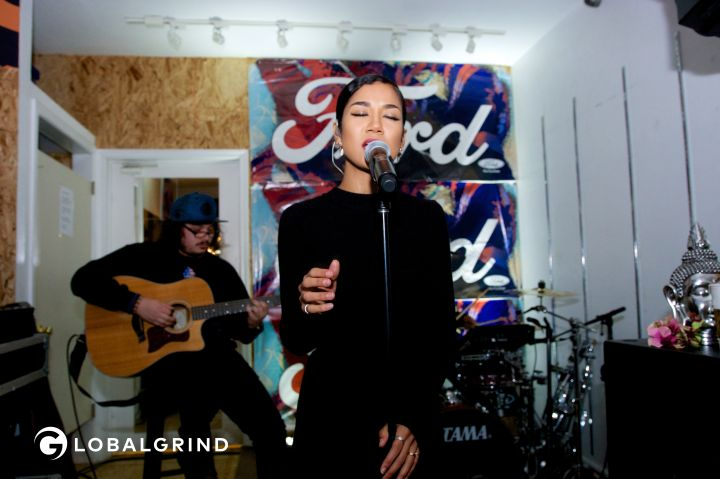 Jhene sings at the Driven By Ford event.