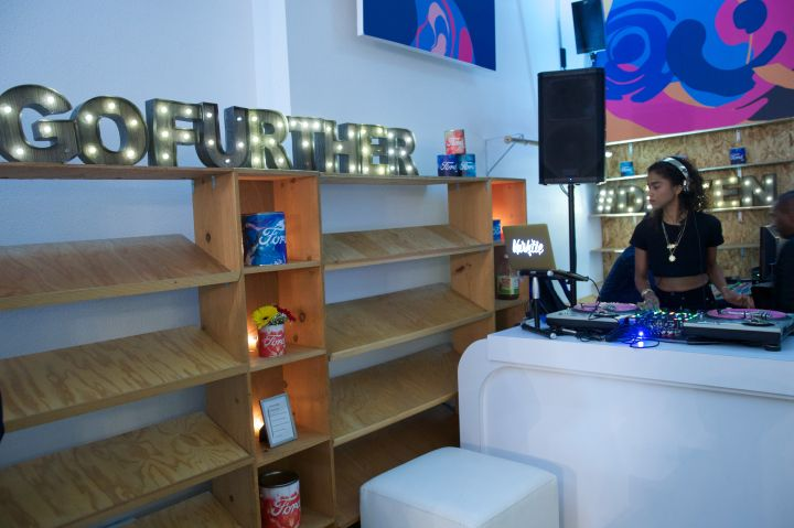 Vashtie spins inside True in San Francisco at the Ford By Design event.